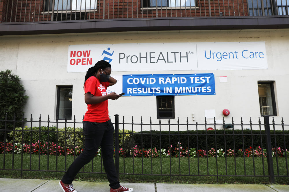 A sign displays a new rapid coronavirus test on the new Abbott ID Now machine at a ProHEALTH center in Brooklyn on August 27, 2020 in New York City. (Spencer Platt/Getty Images)