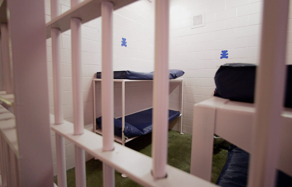 View of the holding cell in Dallas County jail in Buffalo, Missouri. (Jeff Haynes/AFP via Getty Images)