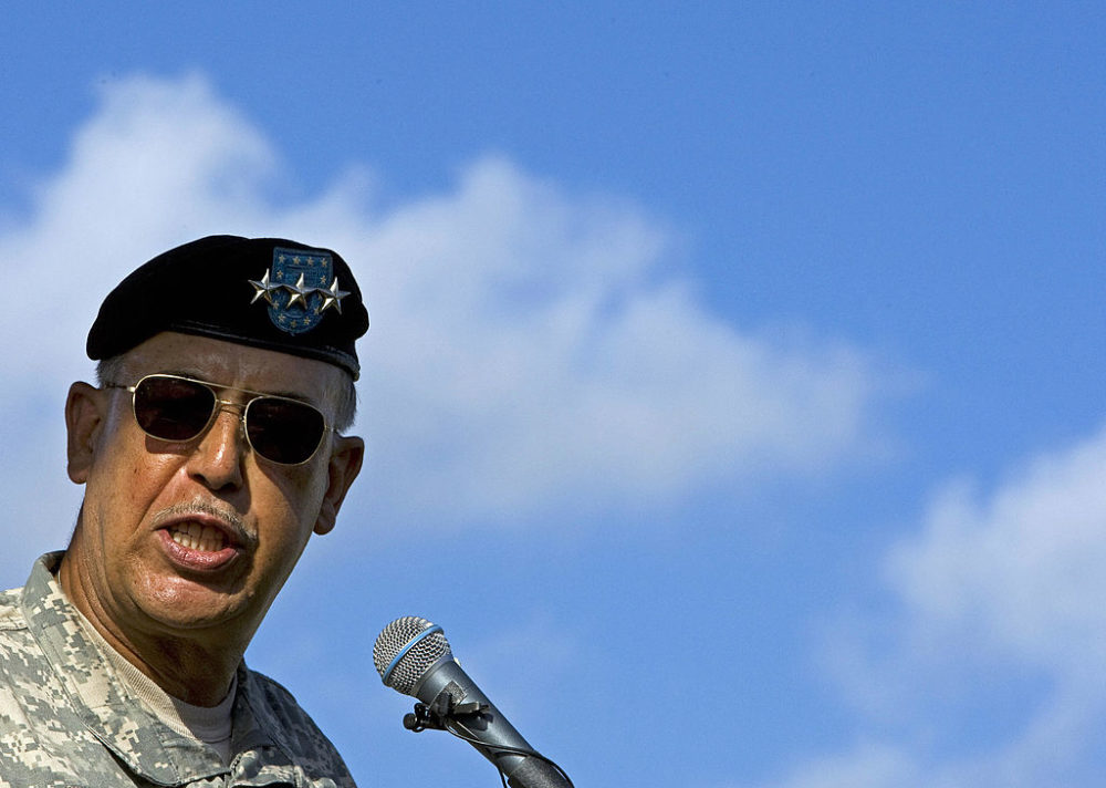Lt. Gen. Russel Honoré  delivers remarks during a Hurricane Katrina memorial service in New Orleans in August of 2007. (Paul J. Richards/AFP/Getty Images)