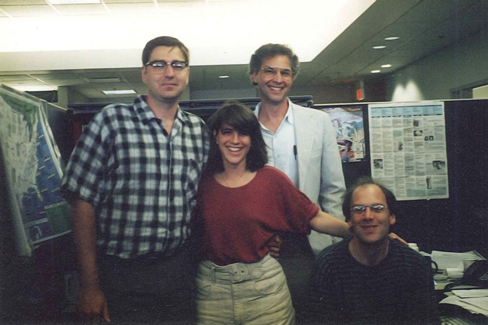 Only A Game's original staff (from left to right): Producer Gary Waleik, Technical Director Jenn Loeb, Host Bill Littlefield, Senior Producer David Greene. (Courtesy WBUR)