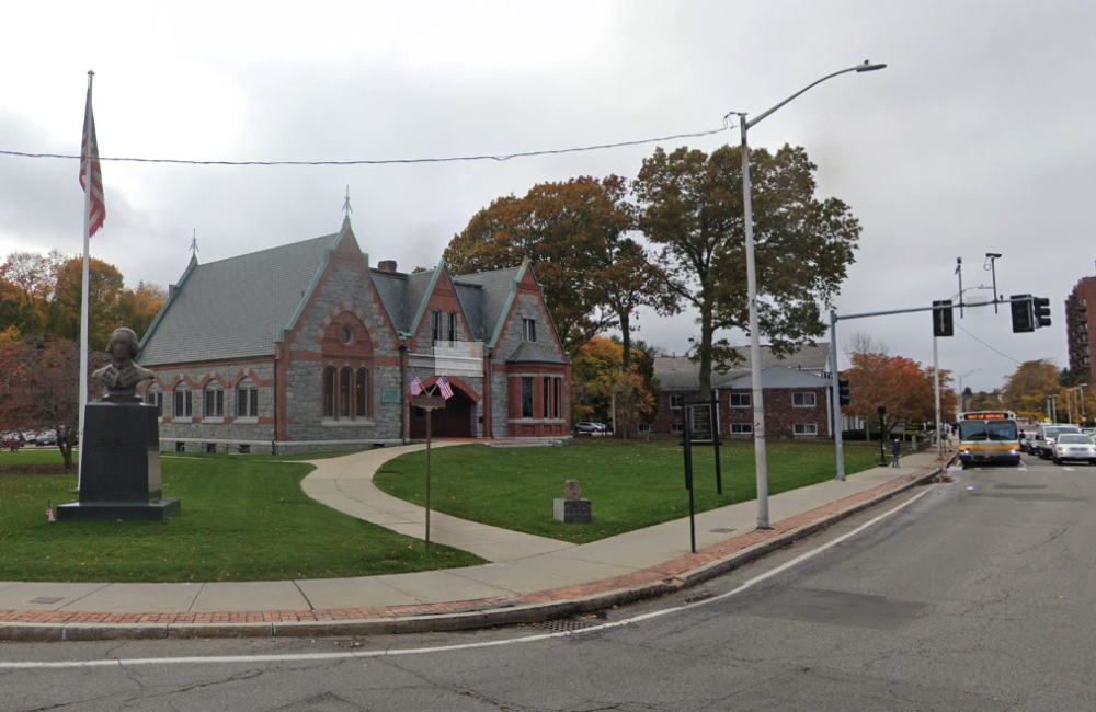 Mayor Thomas Koch says the Adams Academy building, which houses the Quincy Historical Society, could be the future site of the library. (Screenshot via Google Maps)