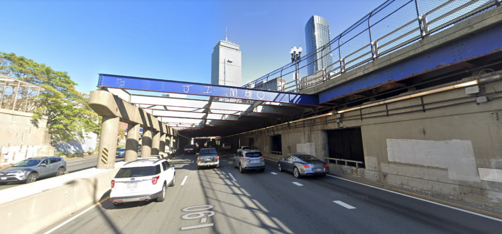 The eastbound entrance to the Prudential Tunnel on the Mass. Pike. (Screenshot via Google Maps)