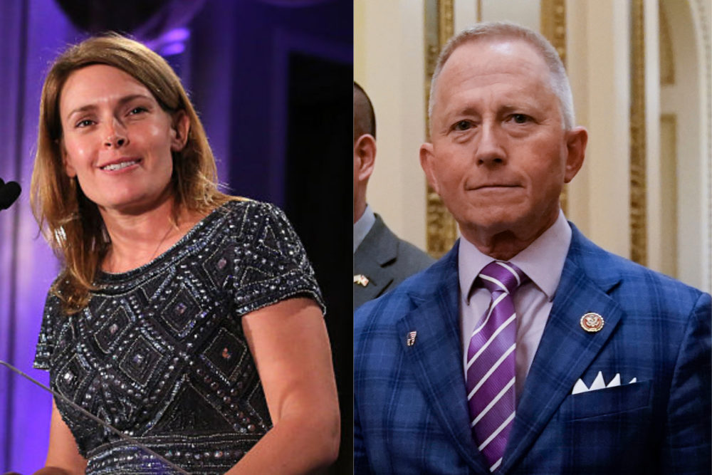 Left: Amy Kennedy in 2016. (Jemal Countess/Getty Images). Right: Rep. Jeff Van Drew in 2019. (J. Scott Applewhite/AP)