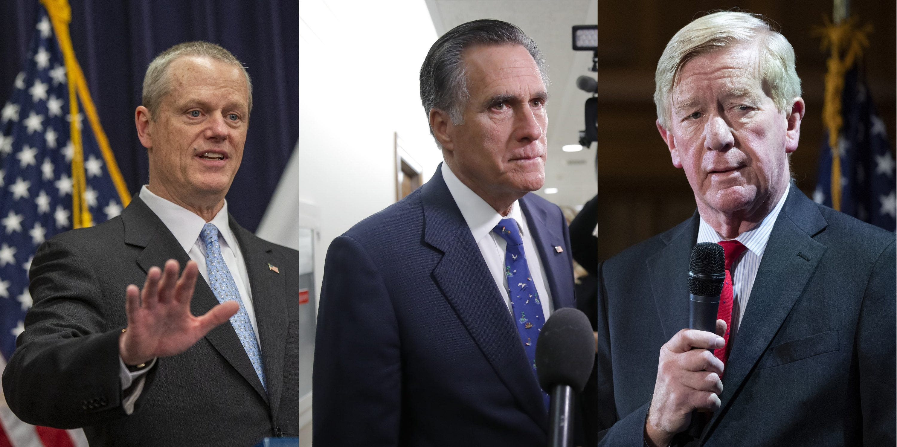 Massachusetts Gov. Charlie Baker and predecessors Mitt Romney and Bill Weld (Baker photo by Jesse Costa/WBUR; Romney photo by Carolyn Kaster/AP; Weld photo by Mary Altaffer/AP)