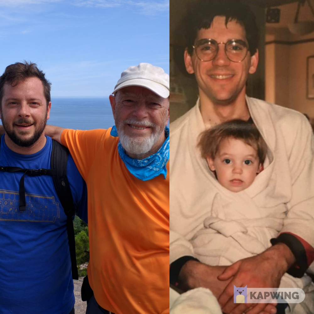 Left: Ben Johnson and his dad, Kit Johnson, half way through a joke marathon in Maine.  Right: Amory Sivertson and her dad, Tam, circa 1991.