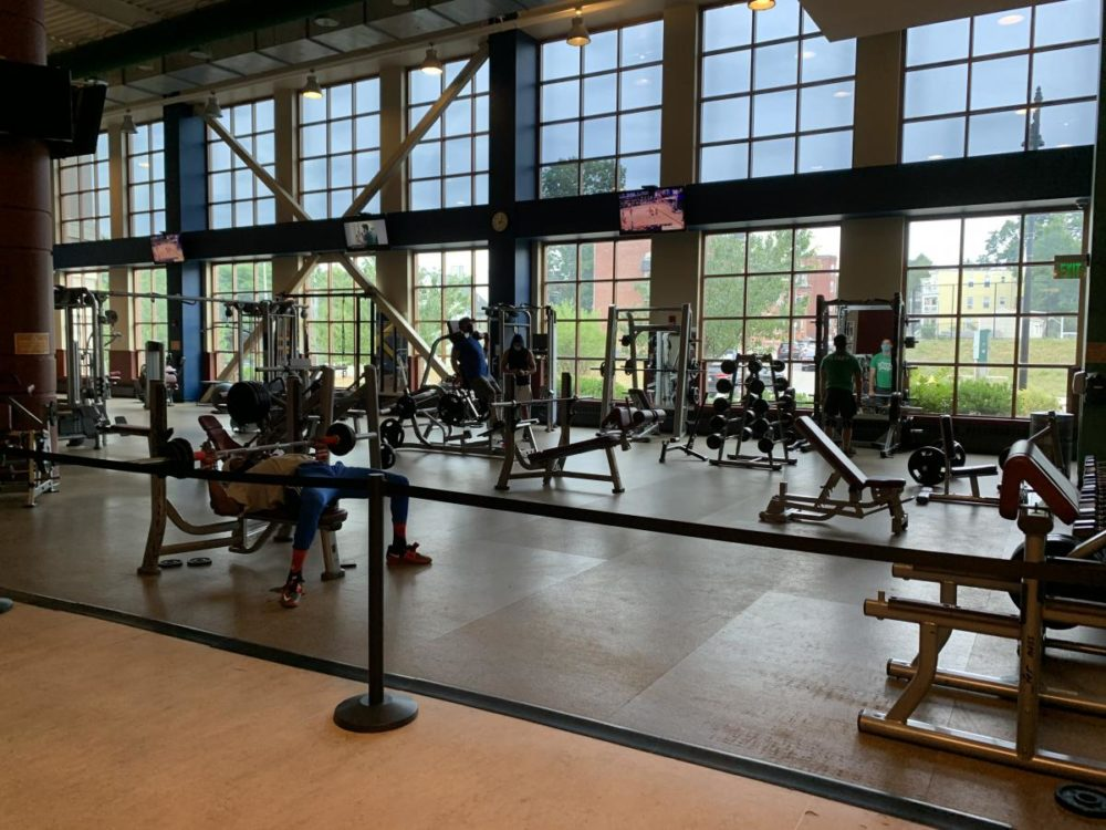 The Kroc Center's fitness center has partially opened, with safety restrictions. (Daniel Sheehan/Dorchester Reporter)