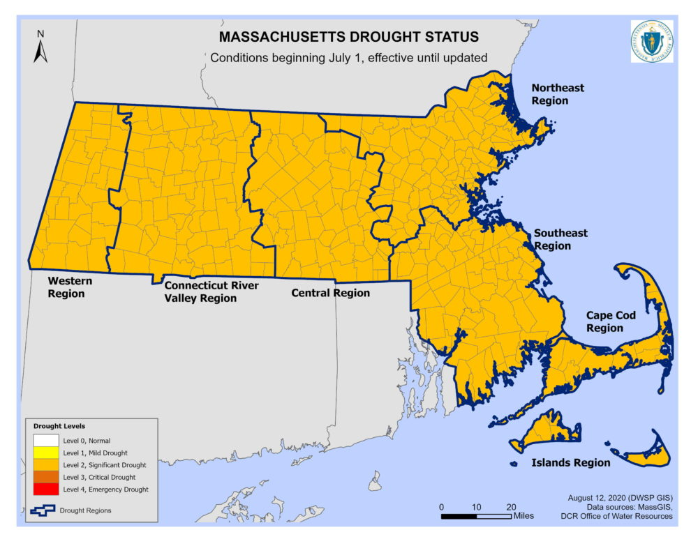 A map of Massachusetts shows that as of Thursday, Aug. 13, most of the state is experiencing significant drought conditions. (Courtesy Massachusetts Executive Office of Energy and Environmental Affairs)