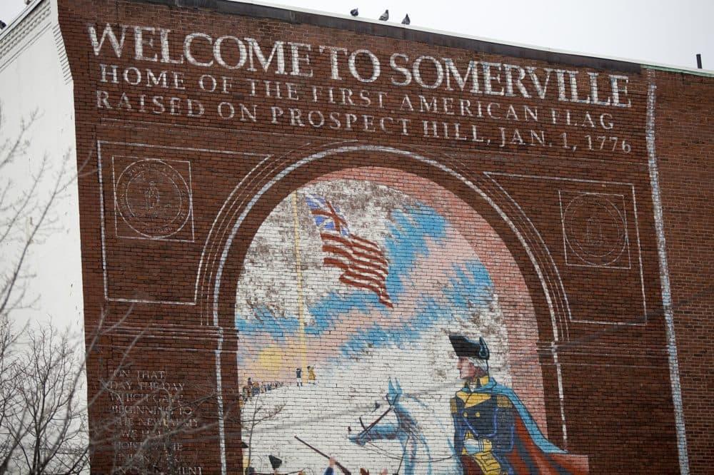 A mural in Union Square Somerville. (Jesse Costa/WBUR)