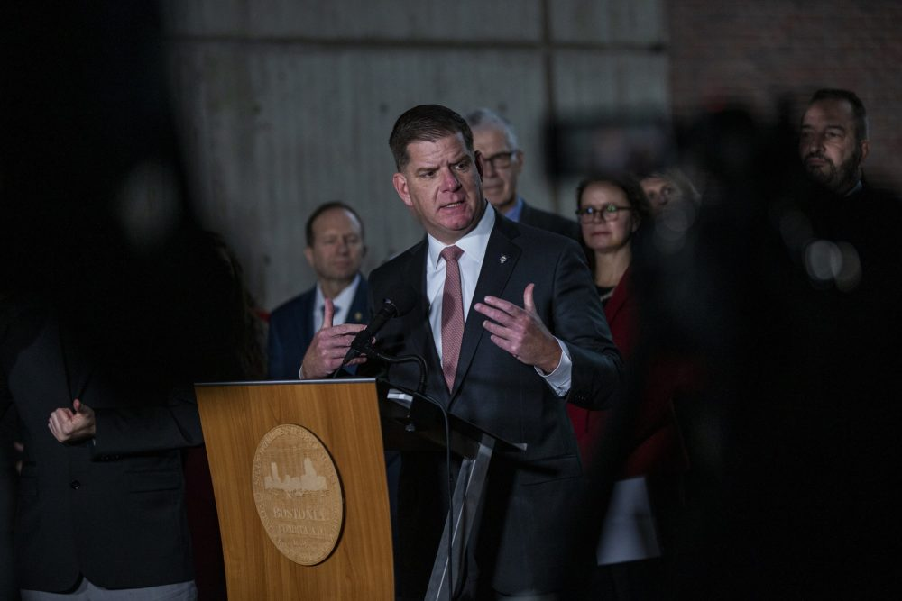 Boston Mayor Marty Walsh announced the postponement of the Boston Marathon during a news conference last March. (Jesse Costa/WBUR)