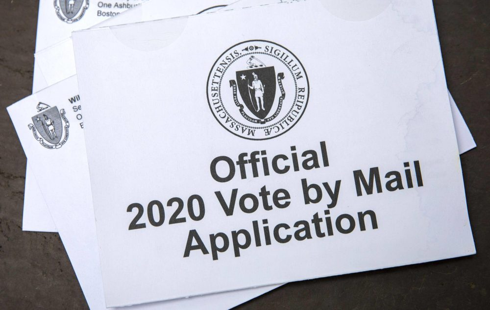 A Massachusetts official vote-by-mail application from the September primary. (Robin Lubbock/WBUR)