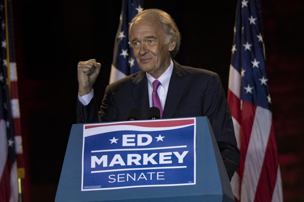 Sen. Ed Markey raises a fist in celebration after turning aside a strong primary challenge from U.S. Rep. Joseph Kennedy III. (Jesse Costa/WBUR)
