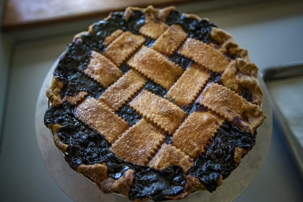 A blueberry pie with a lattice top from Petsi Pies in Somerville. (Jesse Costa/WBUR)