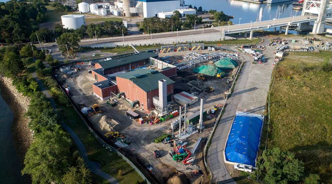 The Weymouth gas compressor station by the Fore River photographed on Sept. 13, 2020. (Robin Lubbock/WBUR)