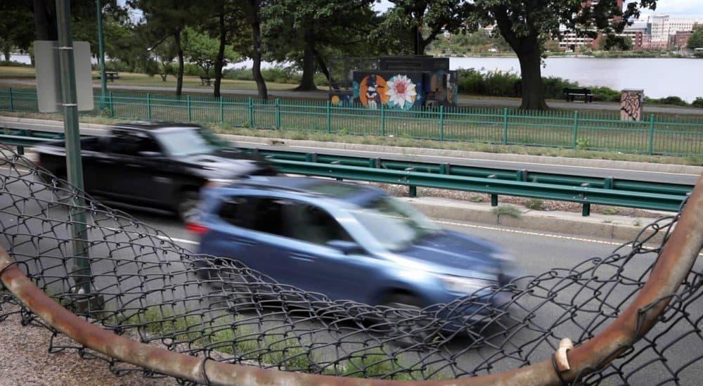 Cars driving along Storrow Drive in Boston. (Robin Lubbock/WBUR)