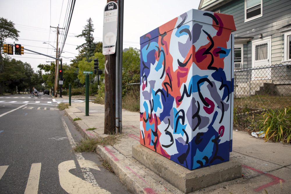 Artist Destiny Palmer's utility box on Boston Avenue, Medford, near Harvard Avenue. (Robin Lubbock/WBUR)