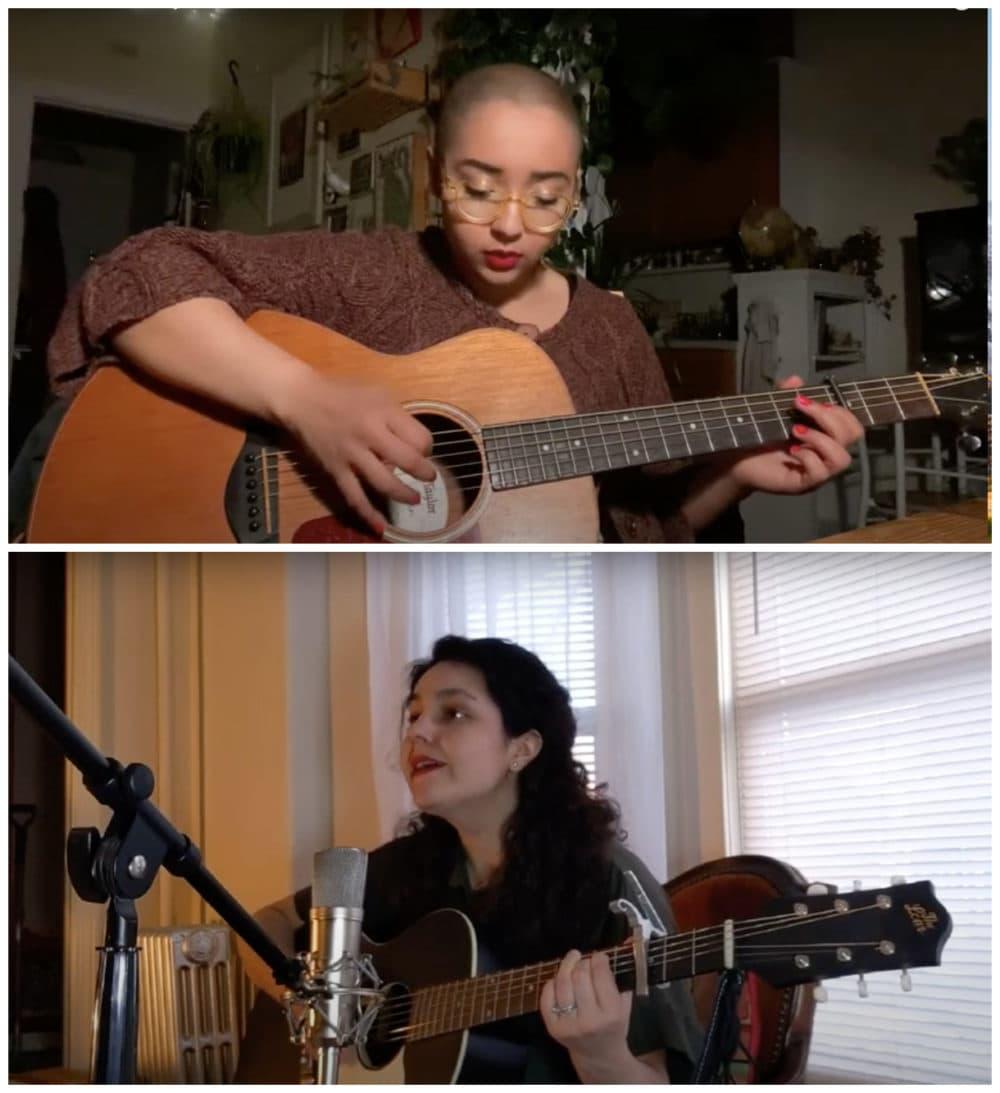 "Grace Givertz (top) singing ""Bitter Lemons"" and Rachel Sumner singing ""Radium Girls."" (Screenshot/YouTube)"