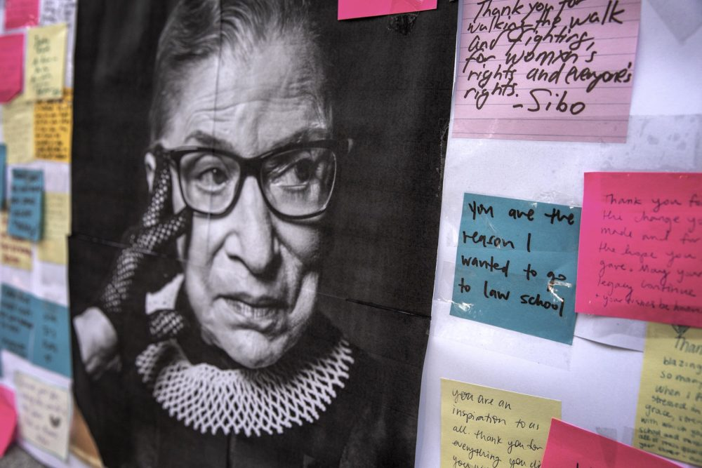 An impromptu memorial for Justice Ruth Bader Ginsburg at Harvard Law School Library. (Robin Lubbock/WBUR)