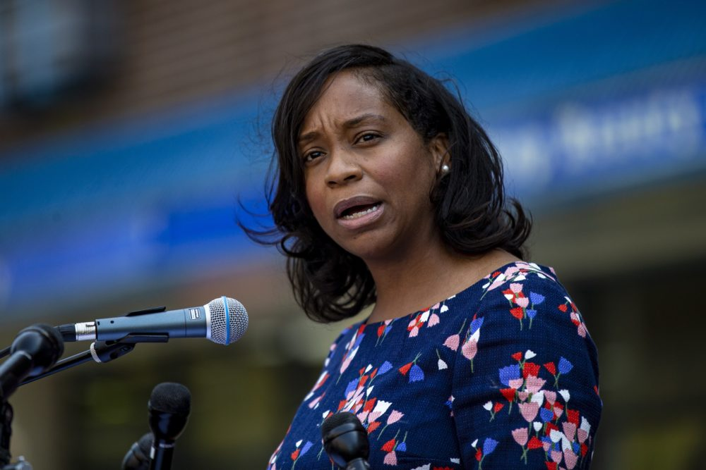 City Councillor Andrea Campbell announces her candidacy for mayor of Boston at the Grant Manor Apartments in Roxbury. (Jesse Costa/WBUR)