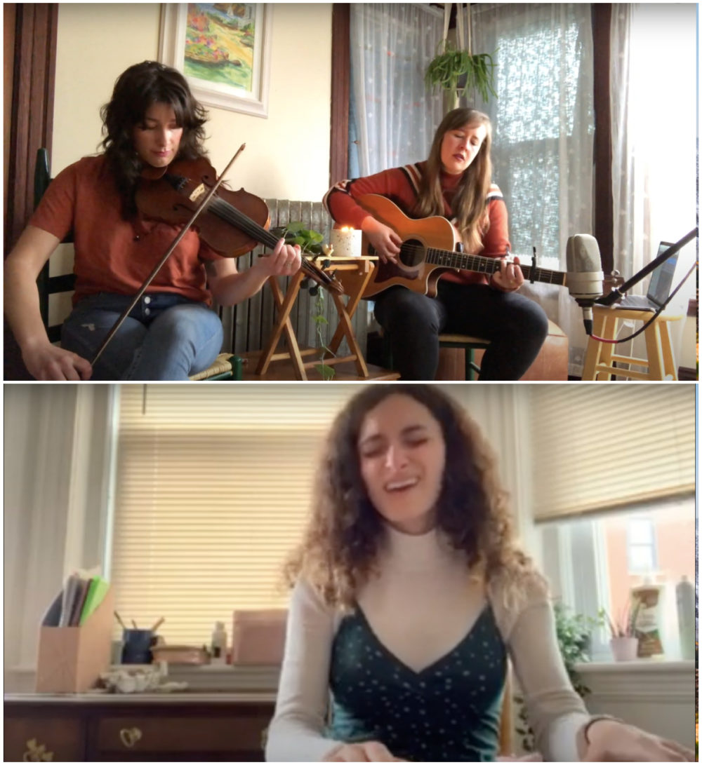 "Kaiti Jones (top right) performing ""Daydreaming"" with fiddle player Emily Baker and Katie Lynne (bottom) singing ""Amelia."" (Screenshot/YouTube)"