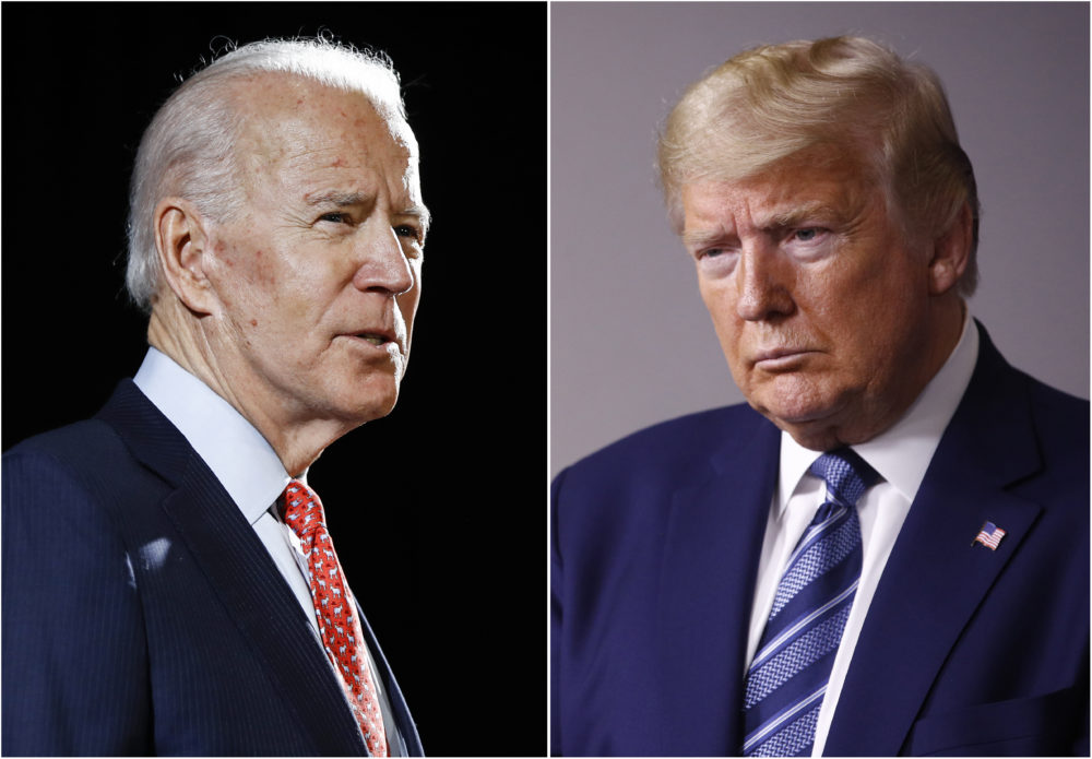 In this combination of file photos, former Vice President Joe Biden, left, speaks in Wilmington, Del., on March 12, 2020, and President Donald Trump speaks at the White House in Washington on April 5, 2020. (AP)