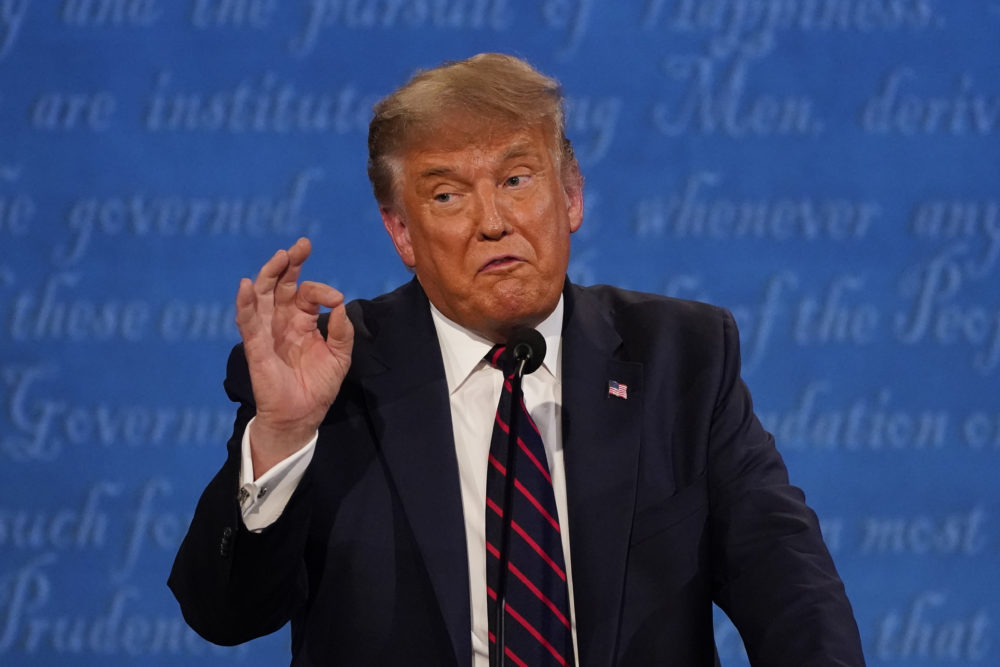 President Trump gestures while speaking during the first presidential debate Tuesday in Cleveland. (Julio Cortez/AP)