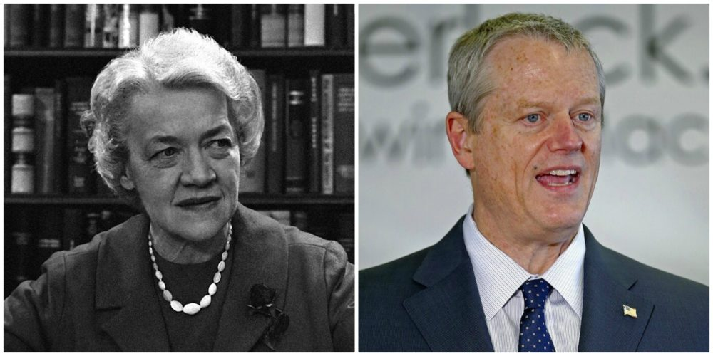 Senator Margaret Chase Smith (R-Maine) in Washington in March 1964, left. (AP file photo) Governor Charlie Baker on May 5, 2020 speaks during a news conference in Fall River, Mass., right. (Stuart Cahill/Boston Herald via AP, Pool)