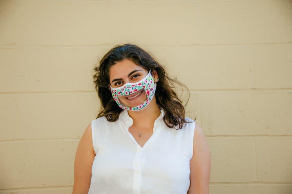 Smile Mask co-designer Olivia Gampel wearing a clear mask. (Courtesy of Rafi Nova)