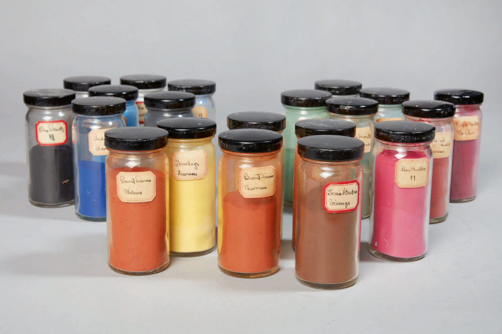 Jars of pigment used by Georgia O'Keeffe, jointly acquired by the Harvard Art Museums and the Georgia O'Keeffe Museum. (Courtesy Sotheby's)