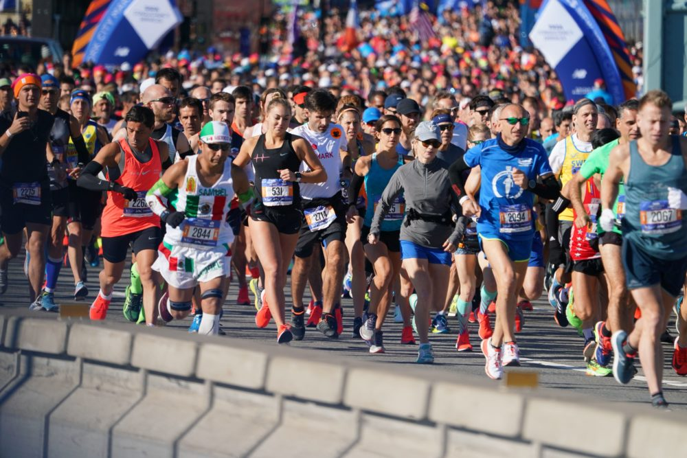 People run during the New York City Marathon on Nov. 4, 2018 in New York. (Don Emmert/AFP via Getty Images)