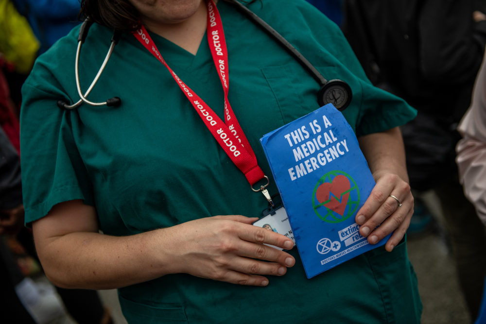 Doctors join Extinction Rebellion activists continue to demonstrate for the sixth day running in Trafalgar Square on Oct. 12, 2019 in London, England. (Chris J Ratcliffe/Getty Images)