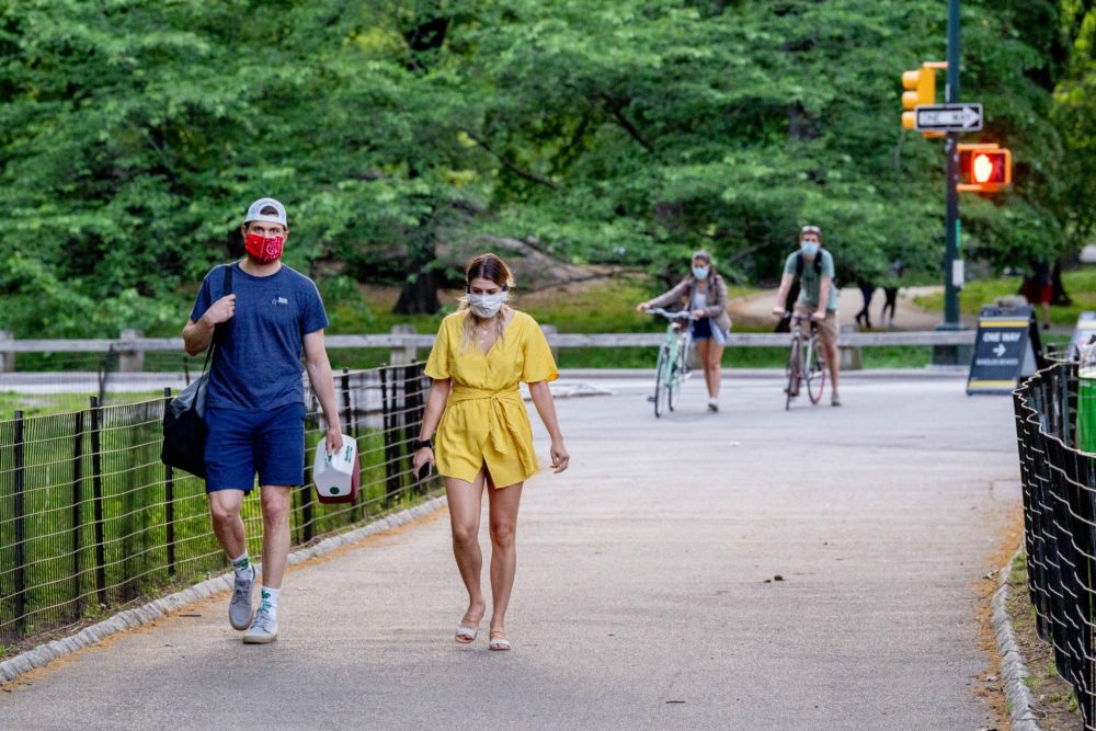 People practice social distancing in Central Park on May 16, 2020 in New York City. (Roy Rochlin/Getty Images)