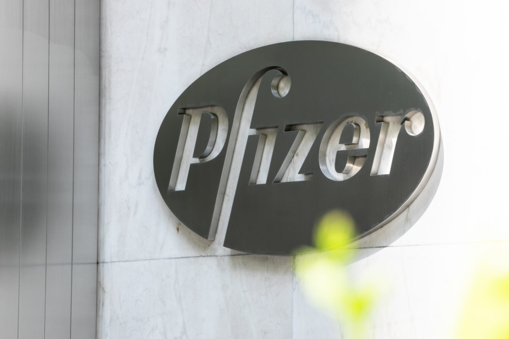 Pfizer Inc. signage is seen on July 22, 2020 in New York City. (Jeenah Moon/Getty Images)