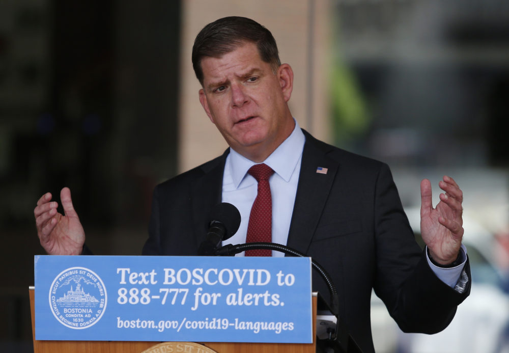Boston Mayor Marty Walsh speaks during a press conference to share updates relating to COVID-19 in the City of Boston. (Jessica Rinaldi/The Boston Globe via Getty Images)