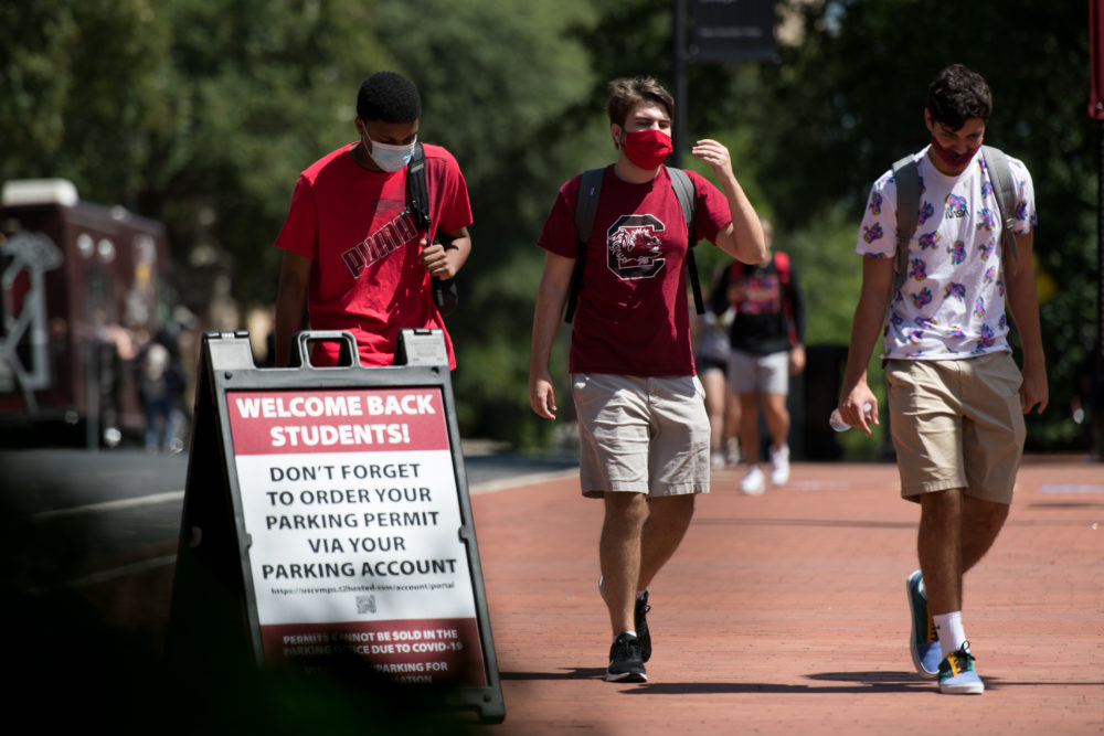 Students walk on campus at the University of South Carolina on Thursday in Columbia, South Carolina. (Sean Rayford/Getty Images)