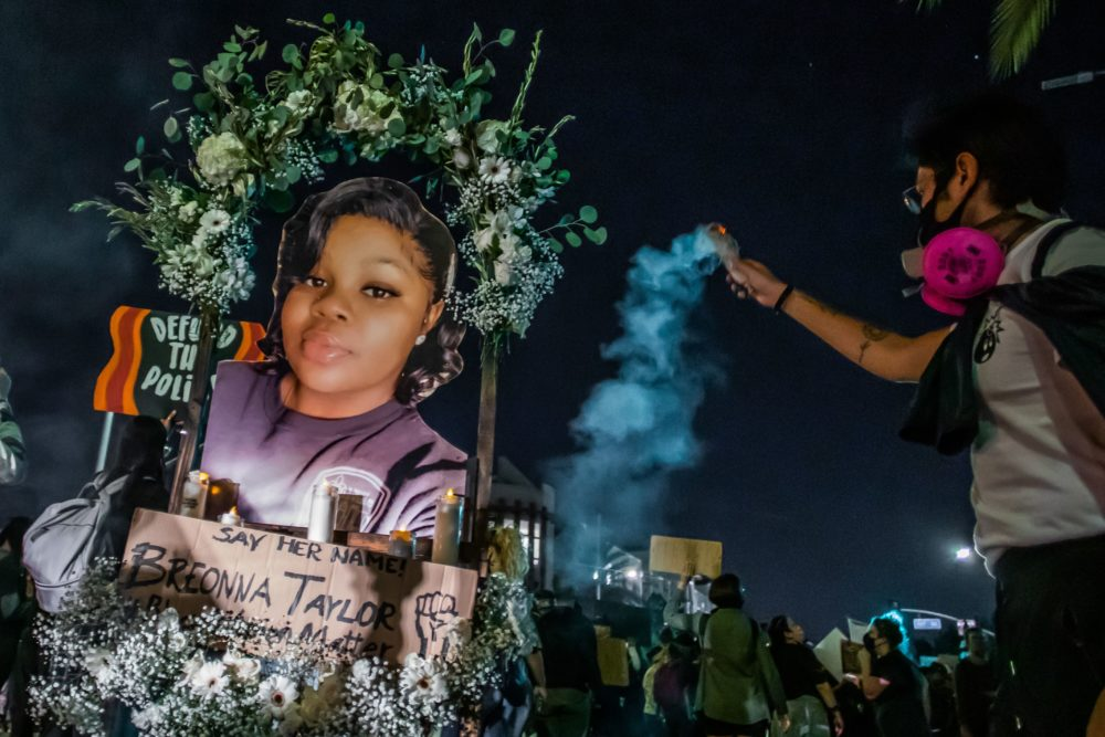 Protesters march against police brutality in Los Angeles, on September 23, 2020, following a decision on the Breonna Taylor case in Louisville, Kentucky. (Apu Gomes/AFP via Getty Images)
