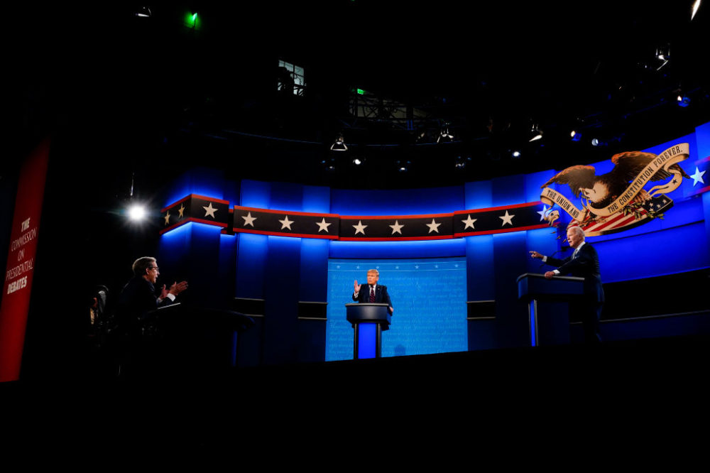Moderator Chris Wallace speaks to President Donald Trump and Former Vice President Joe Biden during the first presidential debate at Case Western Reserve University in Cleveland, Ohio on Tuesday, Sept. 29, 2020. (Melina Mara/The Washington Post via Getty Images)
