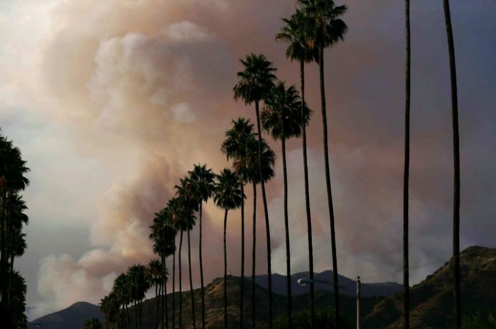 A plume of smoke rises from the Ranch 2 Fire on August 15, 2020 as seen from Azusa, California. (Mario Tama/Getty Images)