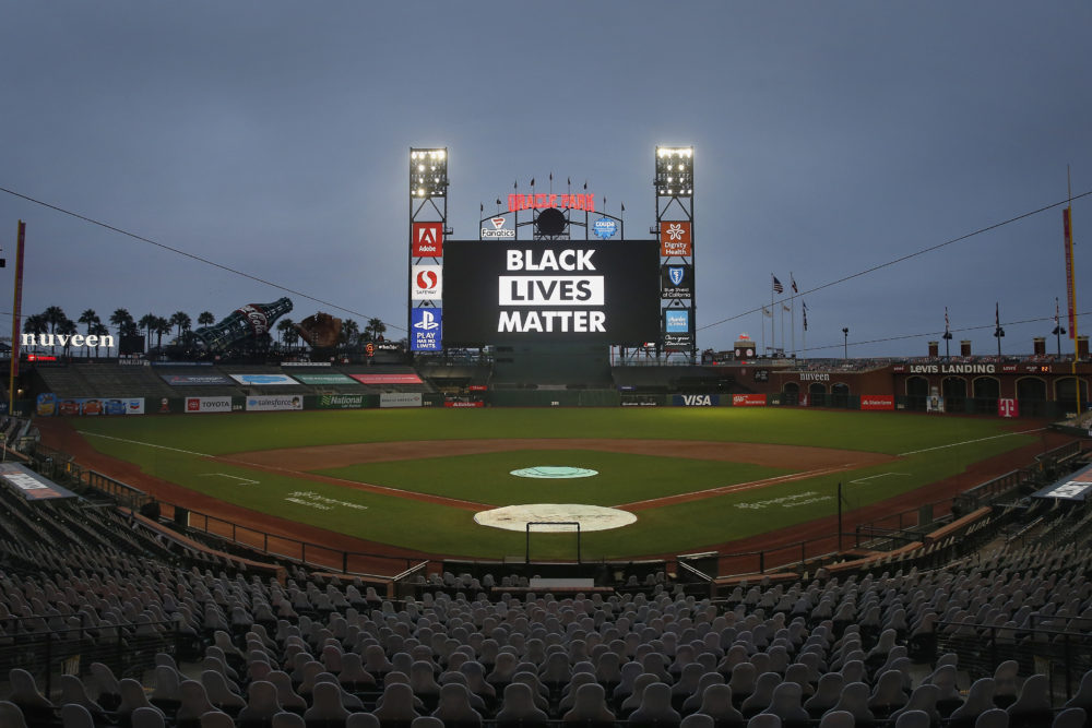 The words 'Black Lives Matter' are displayed on the digital screen after the postponement of the game between the San Francisco Giants and the Los Angeles Dodgers at Oracle Park on August 26, 2020 in San Francisco, California. (Lachlan Cunningham/Getty Images)