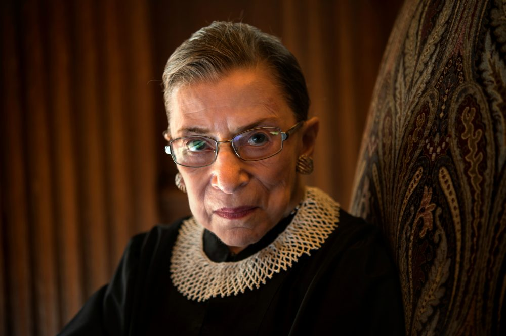 Supreme Court Justice Ruth Bader Ginsburg, celebrating her 20th anniversary on the bench, is photographed in the West conference room at the U.S. Supreme Court in Washington, D.C., on Friday, August 30, 2013. (Nikki Kahn/The Washington Post via Getty Images)