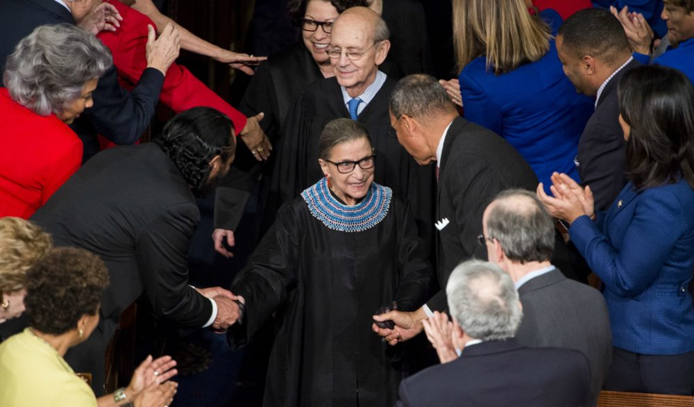 Supreme Court Justice Ruth Bader Ginsburg arrives for President Barack Obama's State of the Union address in the Capitol on Tuesday, Jan. 20, 2015. (Bill Clark/CQ Roll Call/Getty Images)