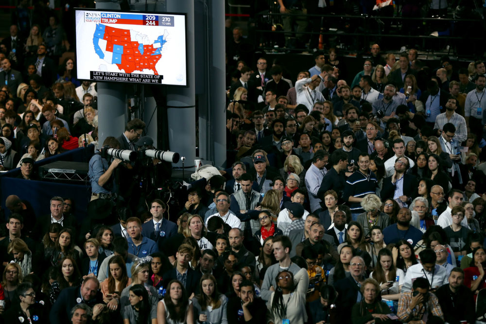 People watch voting results at Hillary Clinton's election night event (Elsa/Getty Images)
