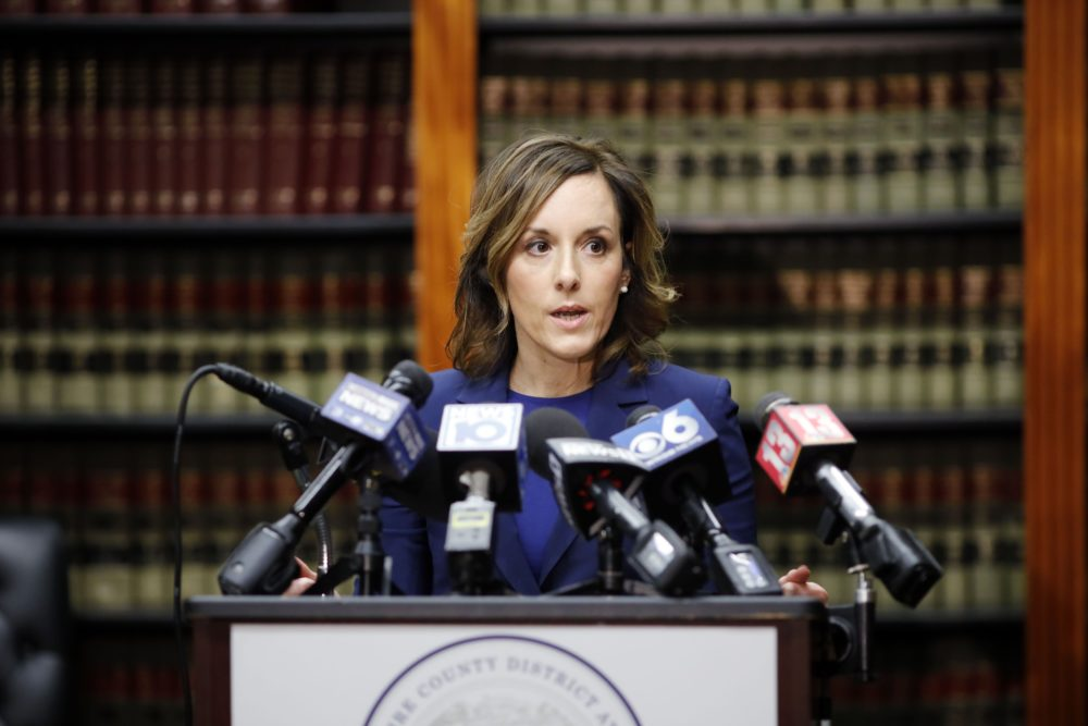 Berkshire County District Attorney Andrea Harrington holds a news conference at her office in Pittsfield on Feb. 5, 2020, in Adams, Mass. (Courtesy Stephanie Zollshan/The Berkshire Eagle)