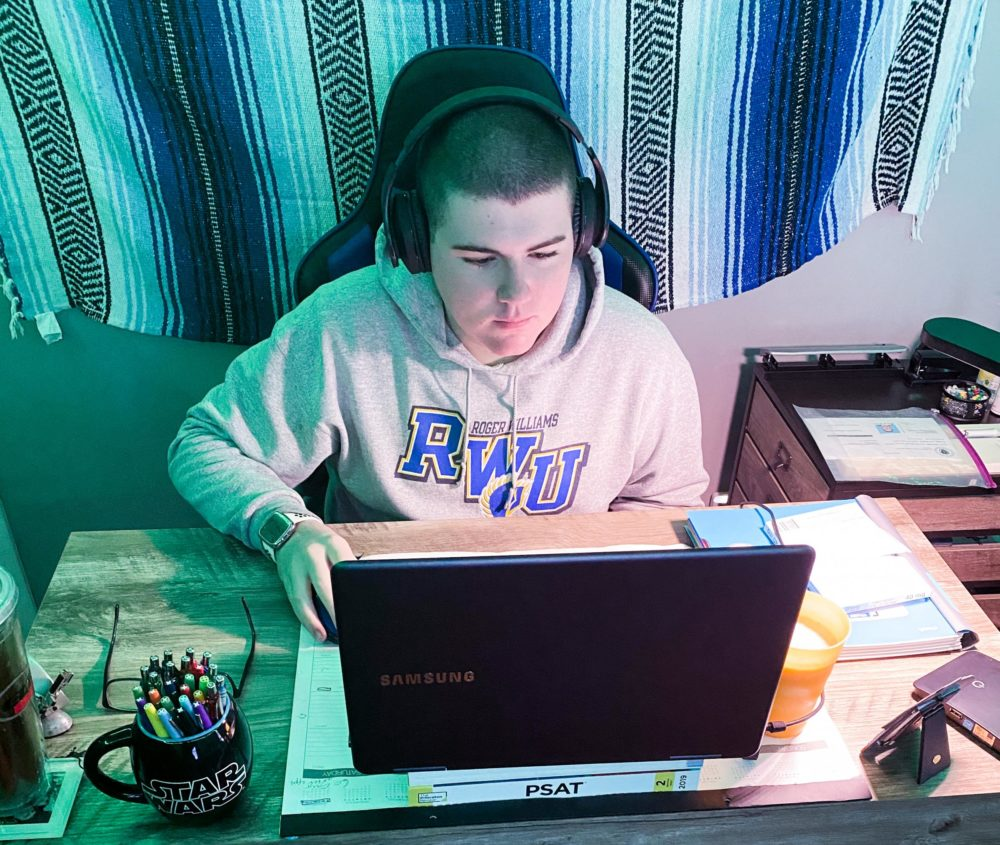 Shane Dillon attends his school in Springfield from home. (Courtesy Christine Dillon)