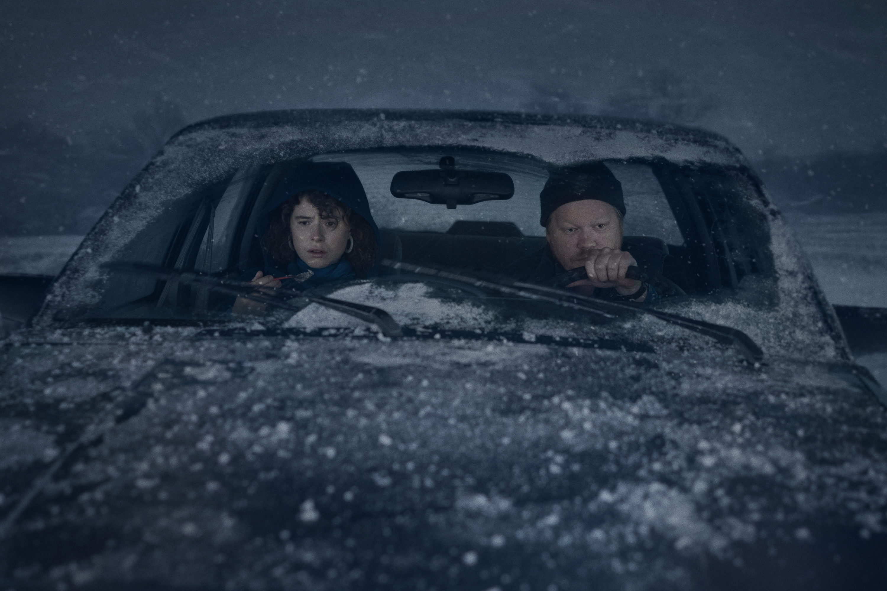 "Jessie Buckley (left) and Jesse Plemons in Charlie Kaufman's ""I'm Thinking of Ending Things."" (Courtesy Mary Cybulski/NETFLIX)"