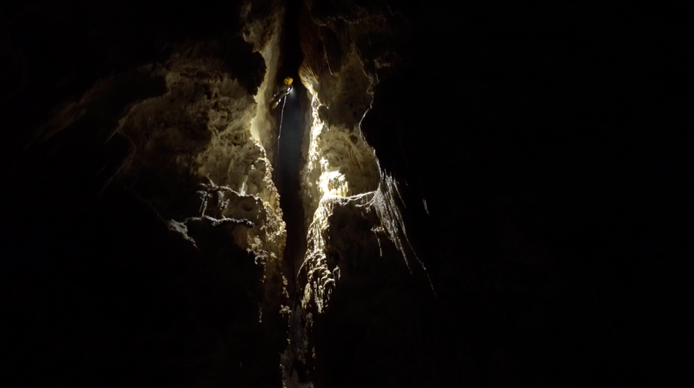 Sonia Meyer rappels down from Chocolate High in Carlsbad Caverns National Park after surveying (Photo by Derek Bristol)