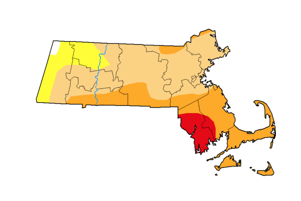 """A map from the U.S. Drought Monitor as of Sept. 17. Areas in red indicate """"extreme"""" drought, and those in yellow are facing """"severe"""" conditions. (Screenshot via U.S. Drought Monitor)"""