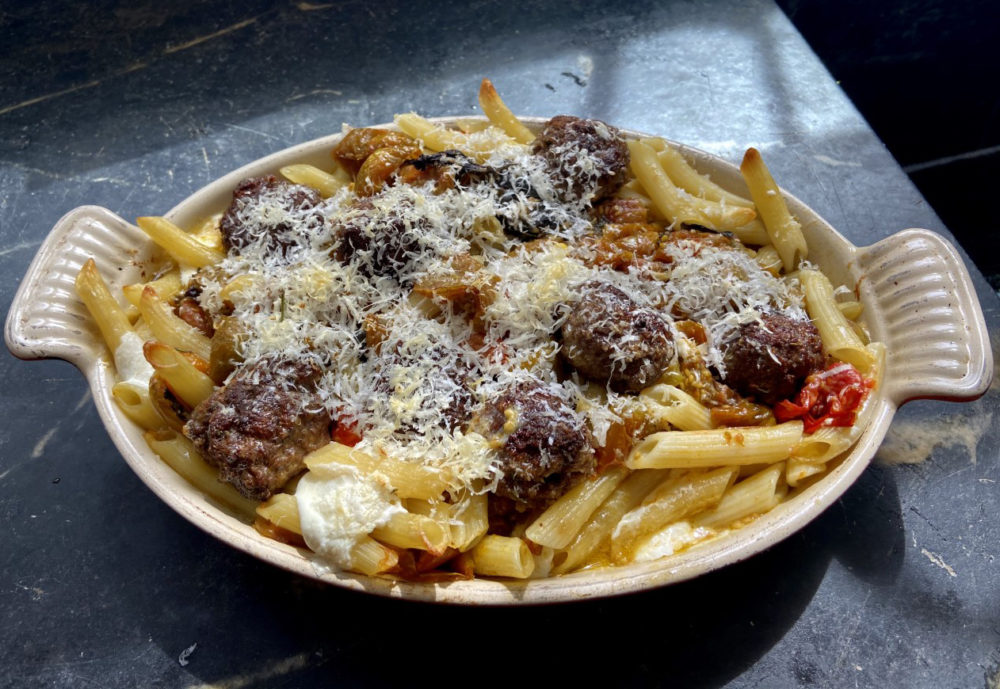 Baked Tomato Pasta And Meatballs (Kathy Gunst)