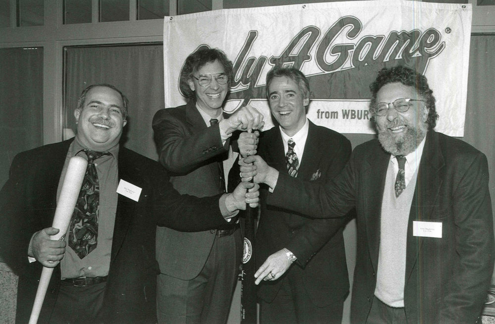Bill Littlefield with NPR's Scott Simon and Car Talk's Tom and Ray Magliozzi during the programs early years. (Courtesy WBUR)