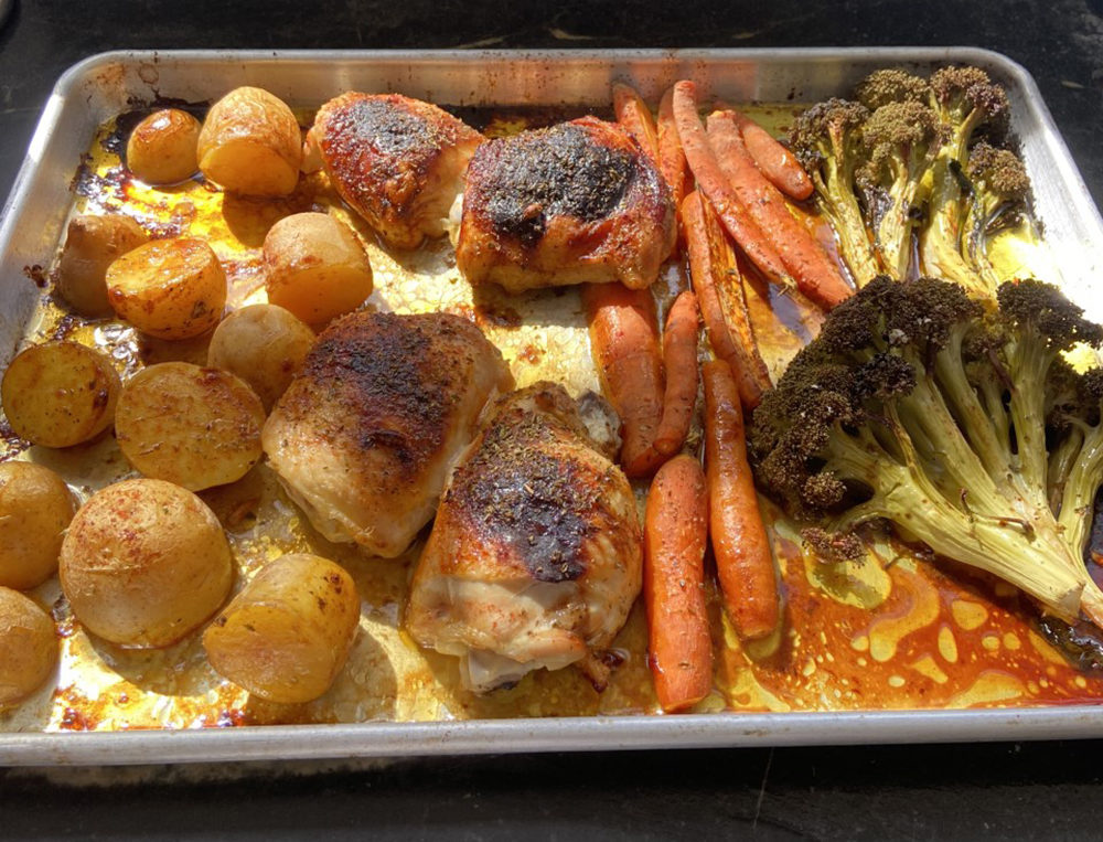Chicken, Potatoes, Carrots and Broccoli (Kathy Gunst)