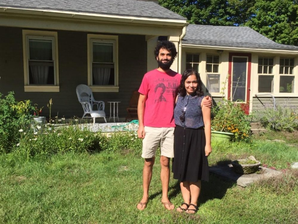 Dana Nestor and Nina Fernandes at their new house in Northampton. (Karen Brown/NEPR)